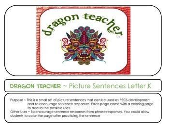 Letter K Picture Sentences for PECS or Early Readers