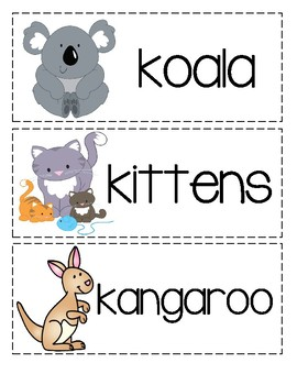 Letter K Picture Word Cards
