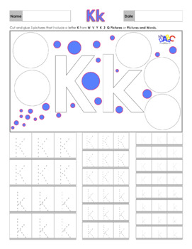 Letter Kk Printing and Picture Find Worksheets
