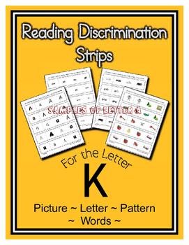Letter K Reading Discrimination Strips for Fluency and Alphabet Recognition