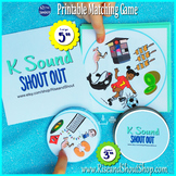 "Letter K Sound Matching Game Shout Out; 31, 3"" cards; speech, articulation"