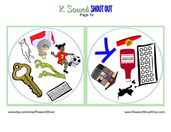 """Letter K Sound Matching Game Shout Out; 31, 3"""" cards; speech, articulation"""