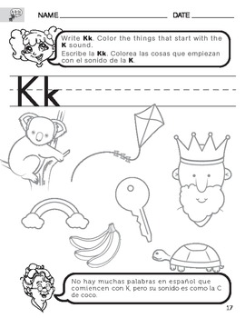 Letter K Sound Worksheet with Instructions Translated into Spanish for Parents