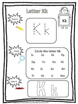 "Letter ""K"" Trace it, Find it, Color it.  Preschool printable worksheet. Daycare."