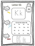 "Letter ""K"" Trace it, Find it, Color it.  Preschool printable worksheet. Daycare."