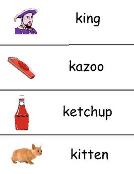 Letter K Vocabulary Cards