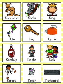 Letter K Vocabulary Cards