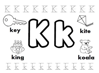 letter k worksheets by kindergarten swag teachers pay teachers. Black Bedroom Furniture Sets. Home Design Ideas