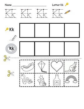 Letter K handwriting and sound sort pack