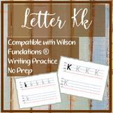 FUN Letter K k  writing practice  No prep