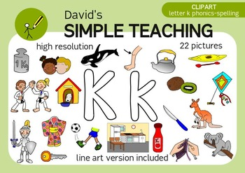Letter K phonics - spelling clipart with free preview