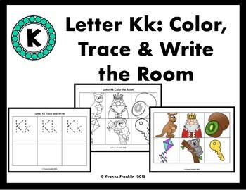 Letter Kk Color, Trace & Write the Room