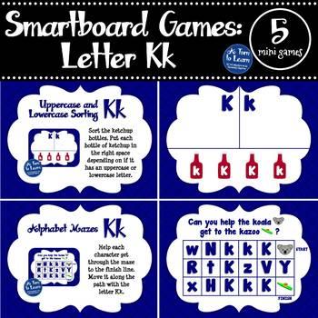 Letter Kk Smartboard Games (5 mini games) (Smartboard/Promethean Board)