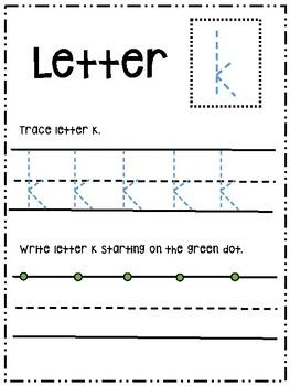 Letter Kk activity worksheet printable trace & write (lowercase)