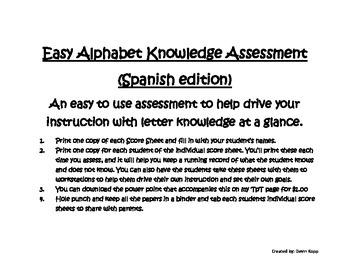 Letter Knowledge Data Tracker for Spanish
