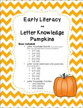 Letter Knowledge Boards Pumpkin Theme