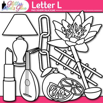 Letter L Alphabet Clip Art {Teach Phonics, Recognition, and Identification} B&W