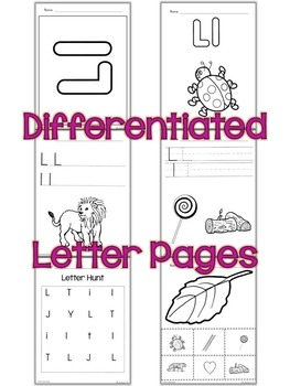 Letter L Unit - Differentiated Letter Writing Pages & Activities