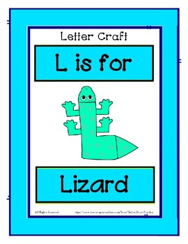 Letter L Craftivity - Lizard - Zoo Phonics Inspired - Color & BW Versions