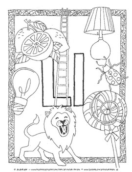The Letter L: Coloring Page & Clip Art