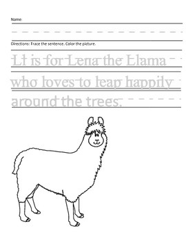 Letter L for Llama Handwriting Practice and Questions!