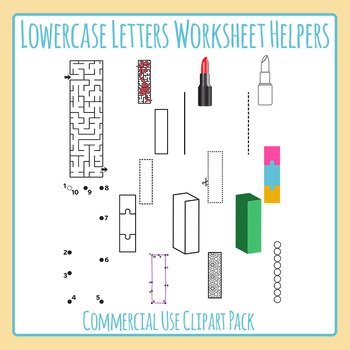Letter L (Lowercase) Worksheet Helper Clip Art Set For Commercial Use