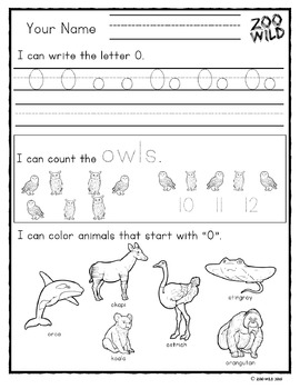 Letters L, M, N, O & P Practice Pages -- Zoo Morning Work -- Homeschool