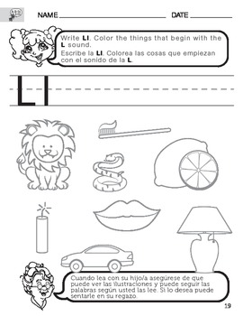 Letter l sound worksheet with instructions translated into spanish letter l sound worksheet with instructions translated into spanish for parents spiritdancerdesigns Image collections