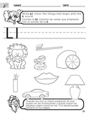 Letter L Sound Worksheet with Instructions Translated into