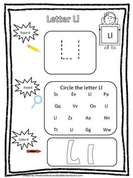 "Letter ""L"" Trace it, Find it, Color it.  Preschool printable worksheet. Daycare."