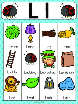 Letter L Vocabulary Cards