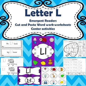 Letter L differentiated emergent readers/ phonics and word work worksheets