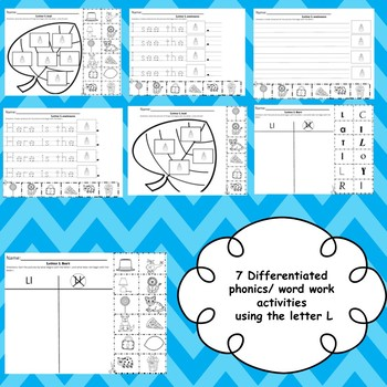 Letter L activities (emergent readers, word work worksheets, centers)