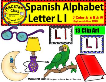 Letter L l Spanish Alphabet Clip Art   Letra L l Personal and Commercial Use