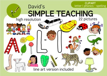 Letter L phonics - spelling clipart with free preview