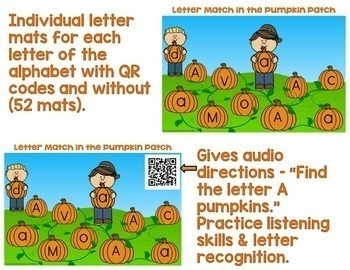 Letter & Letter Sound Match in the Pumpkin Patch (Fall Letter Fun)