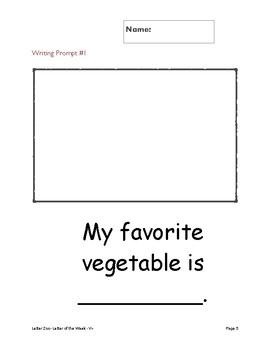 Letter Vv- (V is for Veggies & Fruits): Letter Zoo- Preschool Curriculum