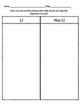 Letter Ll Beginning Sound Sort/Phonemic Awareness