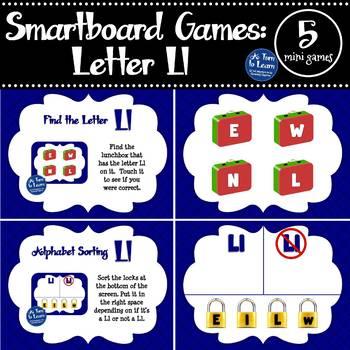 Letter Ll Smartboard Games (5 mini games) (Smartboard/Promethean Board)