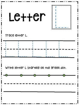 Letter Ll activity worksheet printable trace & write (uppercase)