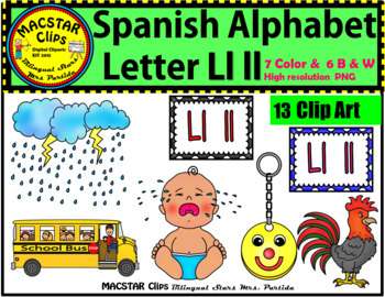 Letter Ll ll Spanish Alphabet Clip Art   Letra Llll Personal and Commercial Use