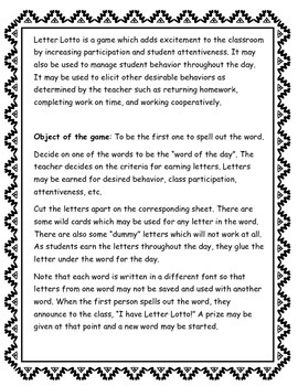 Letter Lotto: A Behavior Management Game