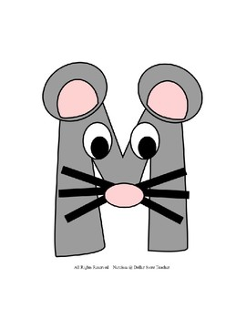 Letter M Craftivity - Mouse - Zoo Phonics Inspired - Color & BW Versions