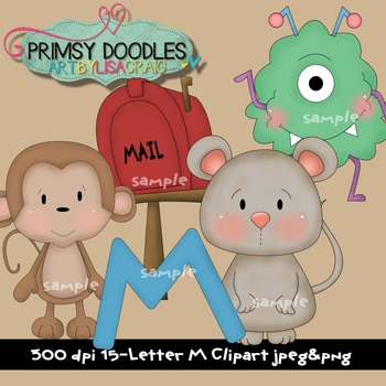 Letter M Early Learning Clipart By Primsy Doodle Designs Tpt