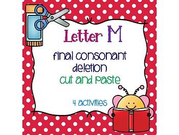 Letter M Final Consonant Deletion Cut and Paste