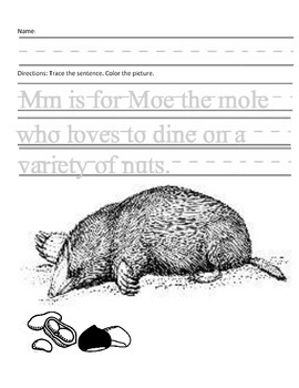 Letter M for Mole Handwriting Practice and Questions!