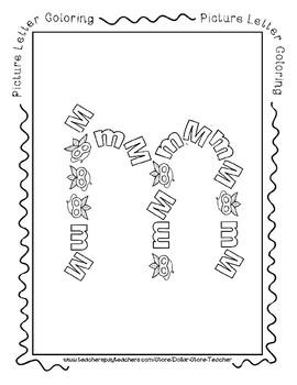 Letter M - Picture Alphabet Coloring