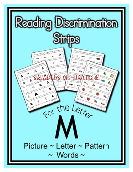Letter M Reading Discrimination Strips for Fluency and Alphabet Recognition