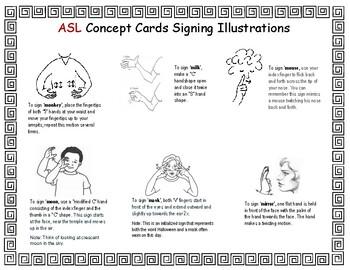 Letter 'M' Sign Language Concept Cards