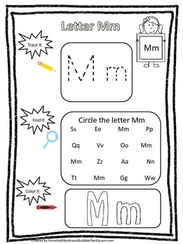 "Letter ""M"" Trace it, Find it, Color it.  Preschool printable worksheet. Daycare."